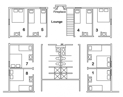 Blueprint of Lodge: Private Rooms