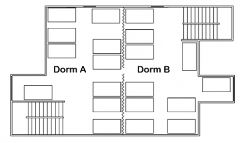 Blueprint of Lodge: Dormitory