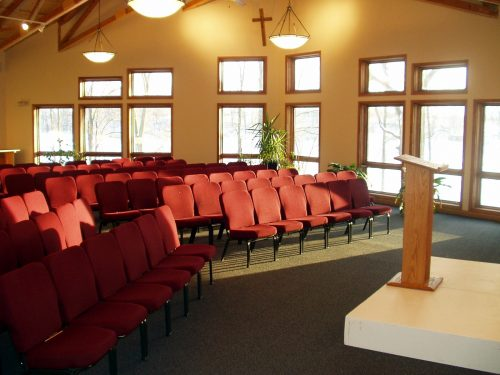 Upper room of Daniel Retreat Center setup for large group meeting