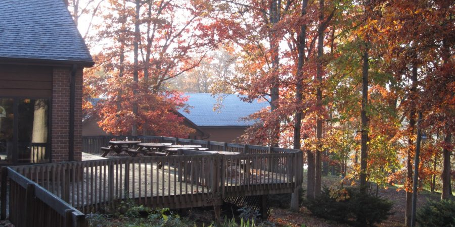 Lodge deck shot from rear during autumn